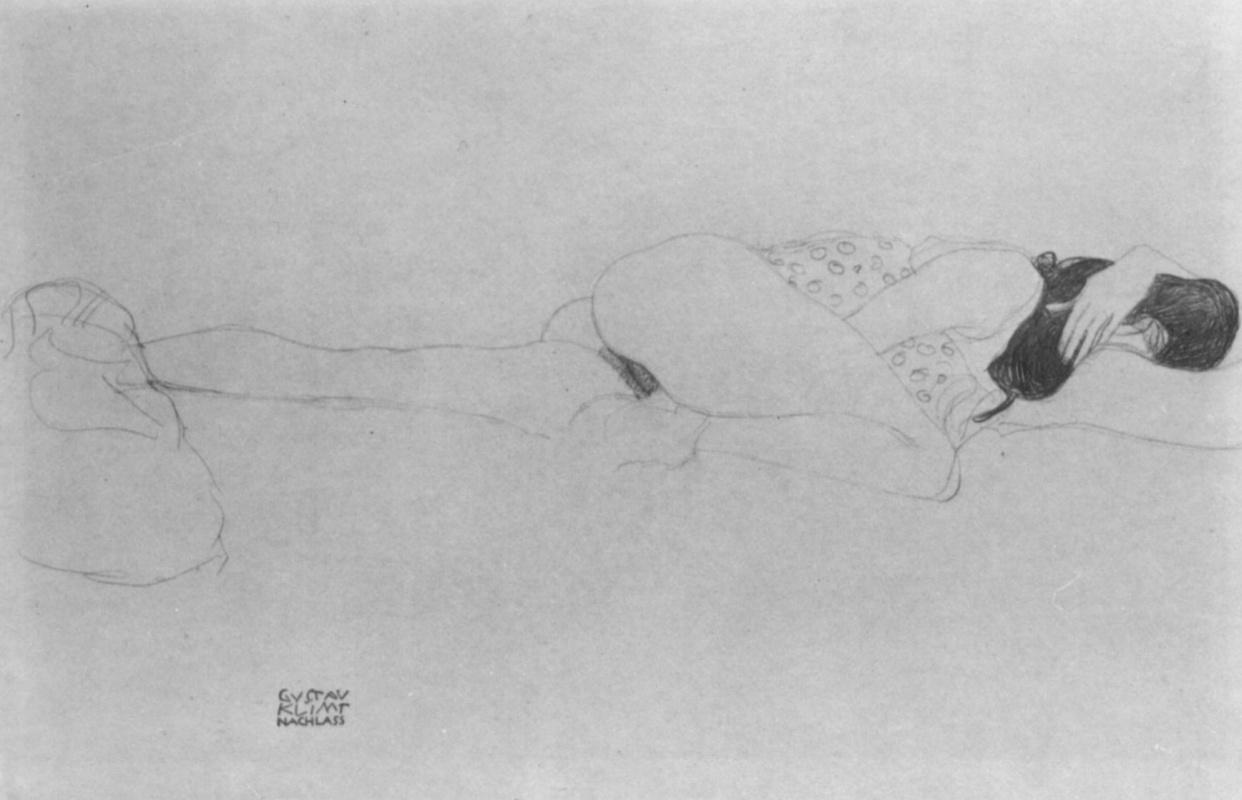 Густав Климт. Лежащая полуобнаженная, с головой на согнутой левой руке