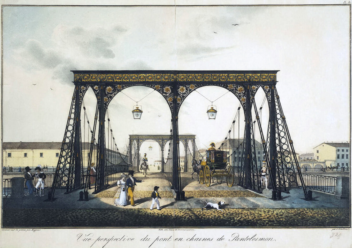 Karl Petrovich Beggrov. View of the Chain Panteleimonovsky bridge across the Fontanka