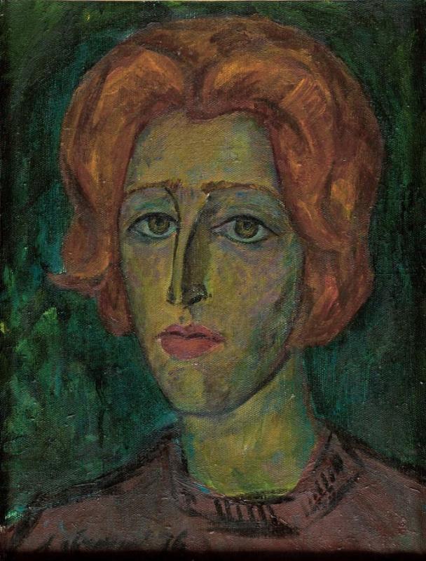 Лев Авксентьевич Овчинников. Портрет девушки с рыжими волосами (Алла студентка)