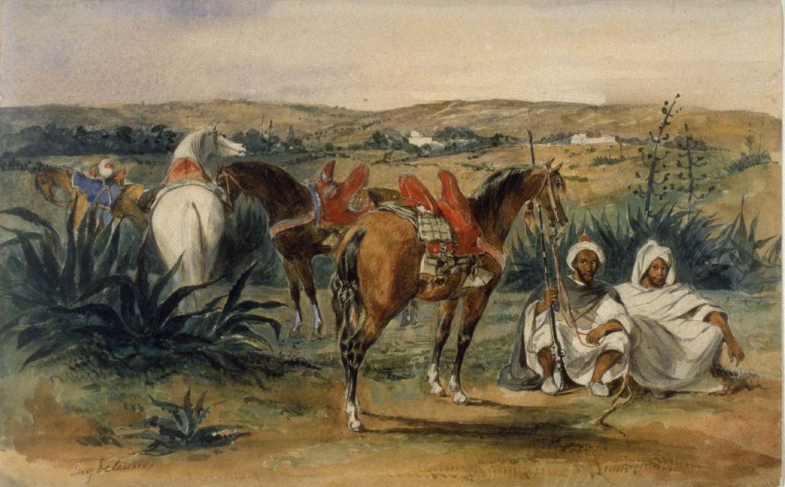 Eugene Delacroix. Arabs and horse in Tangier