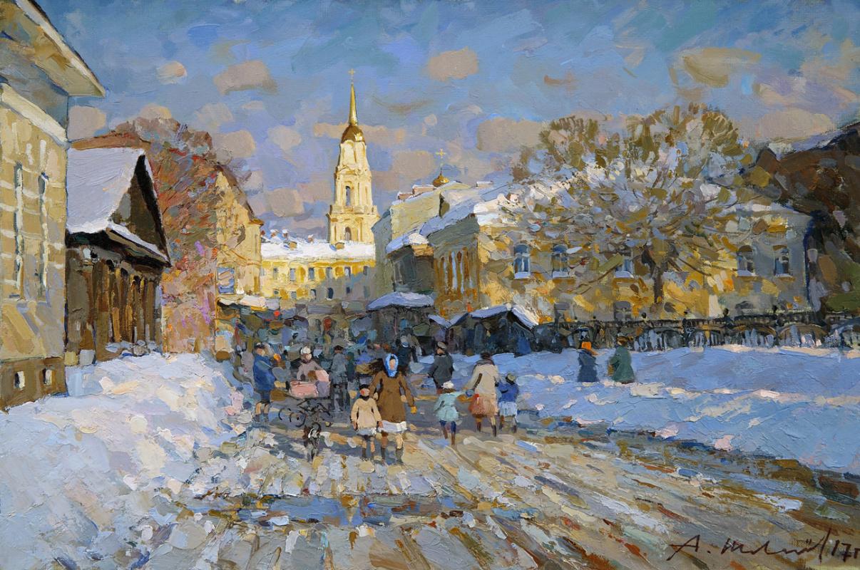 Alexander Shevelyov. Rybinsk. Voznesensky Lane. Oil on Canvas 33 x 50 cm. 2017