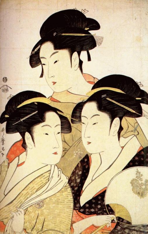 Китагава Утамаро. Три современные красавицы