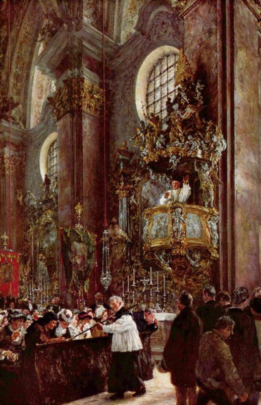 Адольф фон Менцель. Проповедь в приходской церкви в Иннсбруке