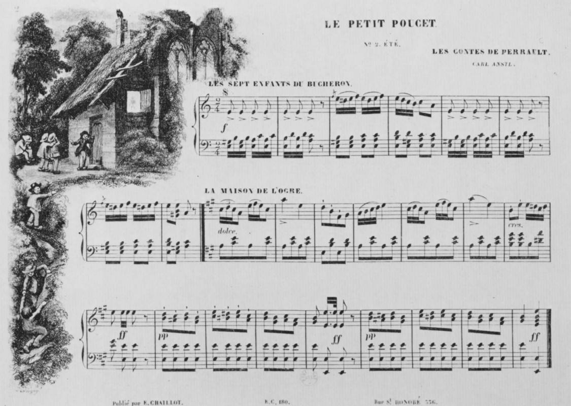 """Шарль-Франсуа Добиньи. Иллюстрация к положенным на музыку сказкам Перро: """"Мальчик с пальчик"""""""