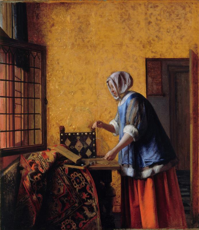 Pieter de Hooch. Woman weighing gold