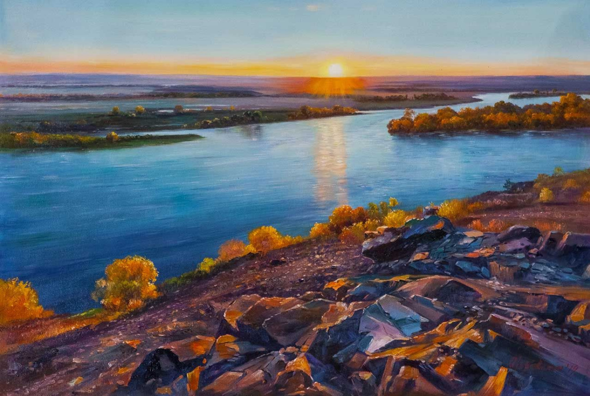 Alexander Romm. Meeting the dawn on the banks of the river