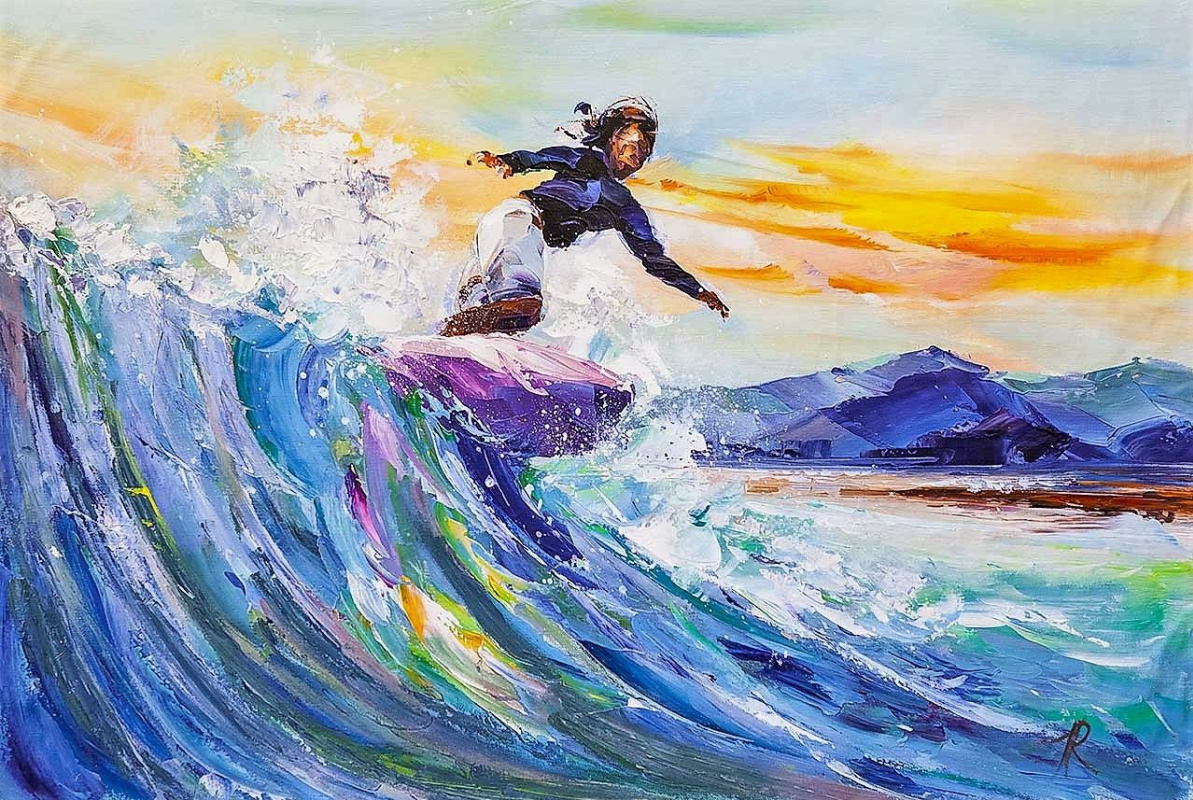 Jose Rodriguez. Surfing. On the crest of the sea wave