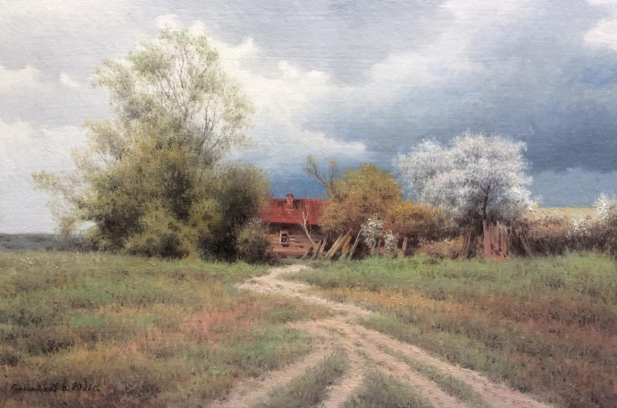 Vasily Ivanovich Gribennikov. Сельский пейзаж с домом