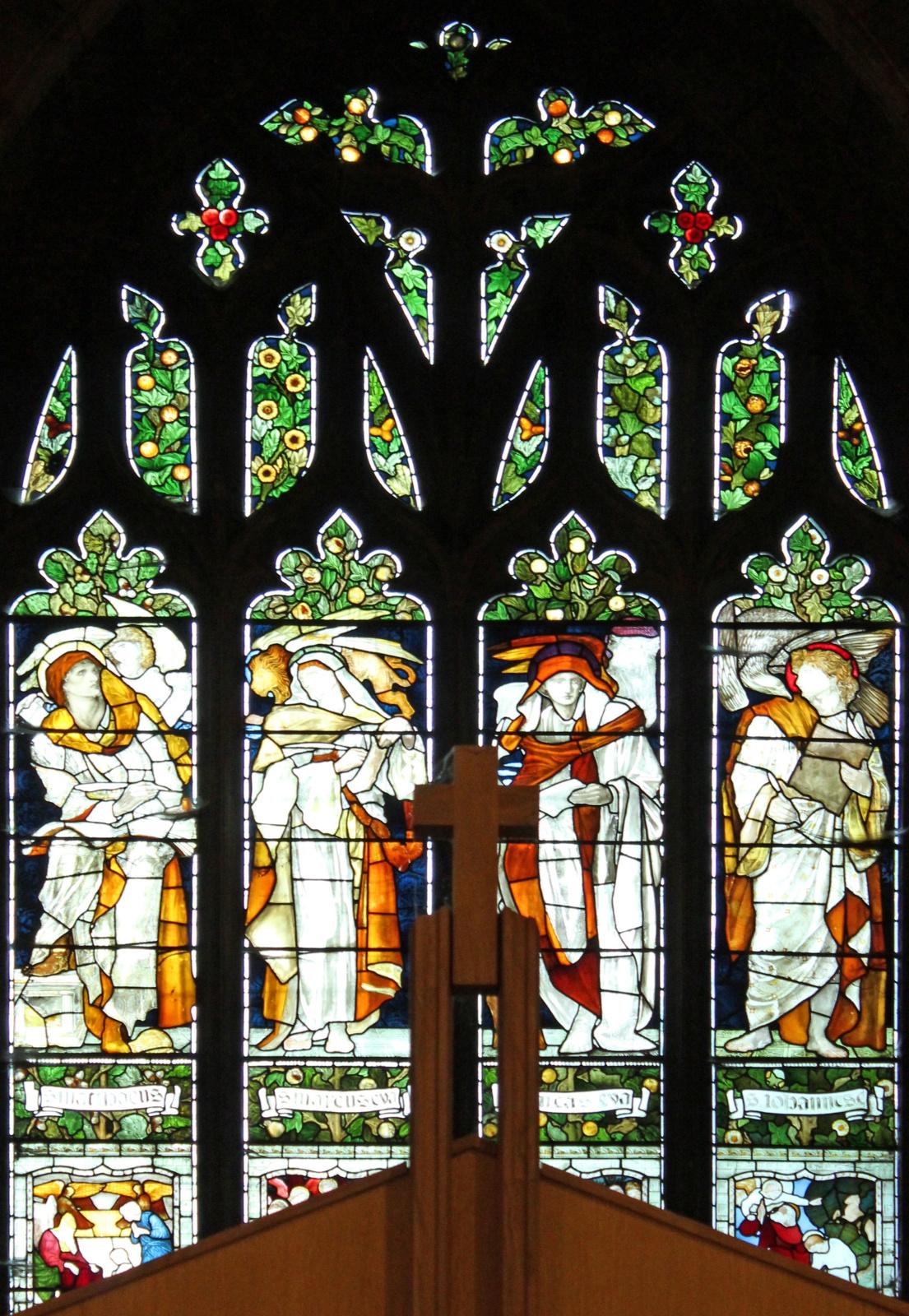 William Morris.  La fenêtre ouest des quatre évangélistes de l'église de la Toussaint à Allerton (co-auteur d'Edward Burne-Jones)