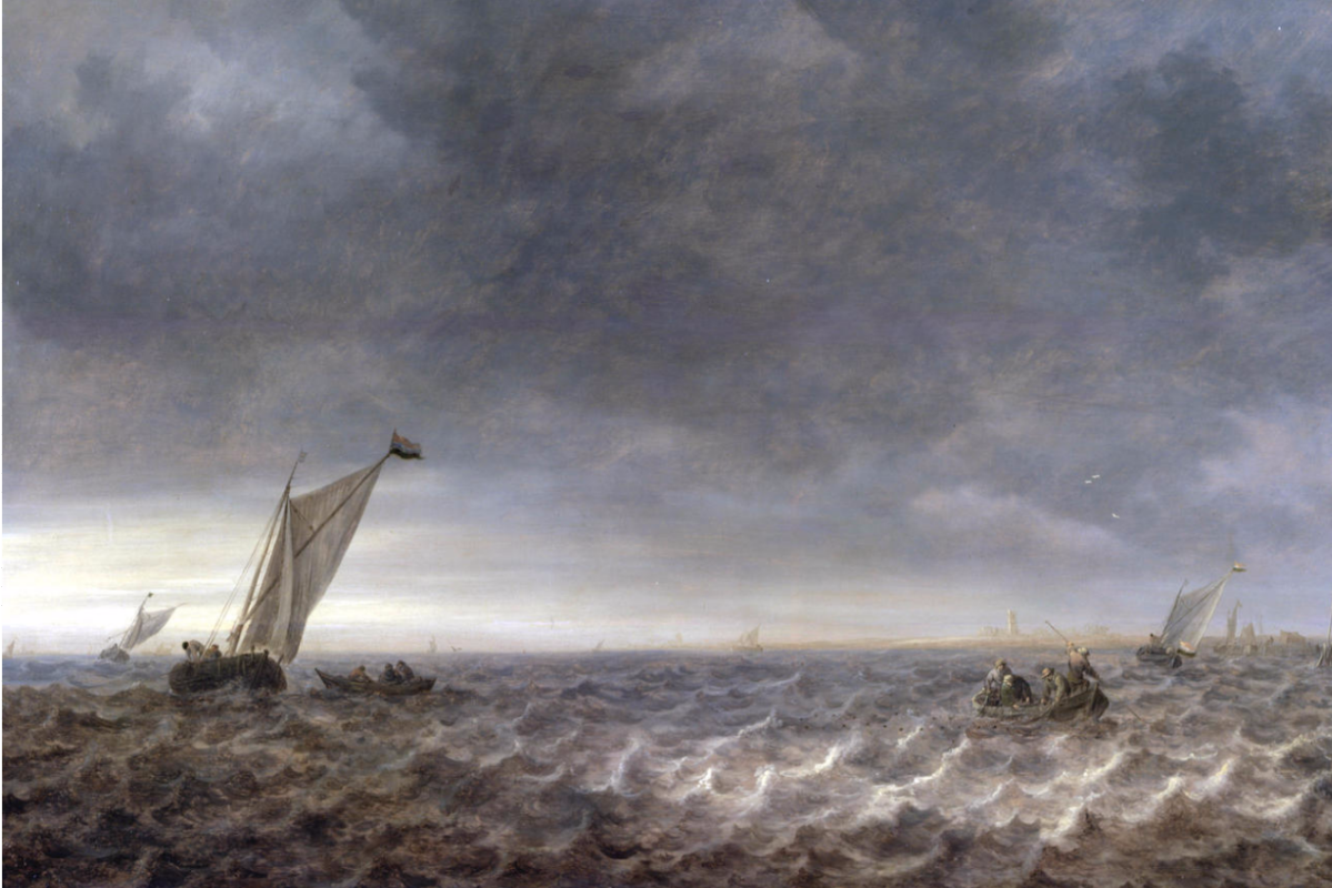 Jan van Goyen. Boats in the estuary