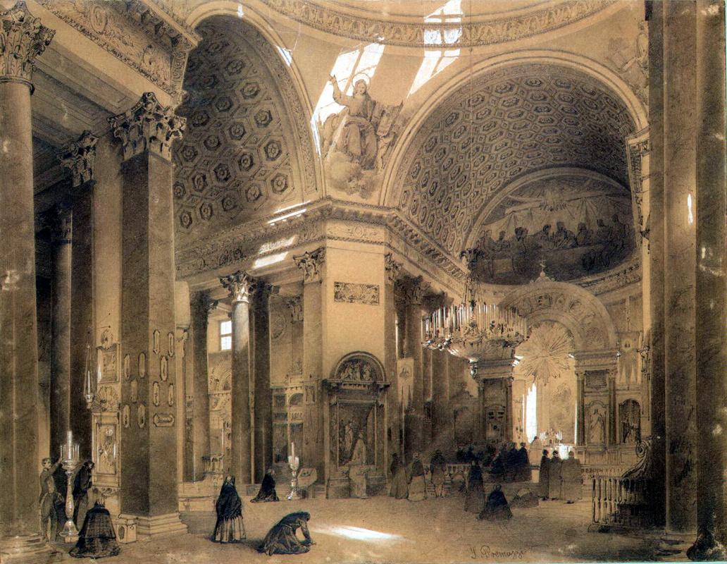 Луиджи Премацци. Интерьер Казанского собора в Санкт-Петербурге