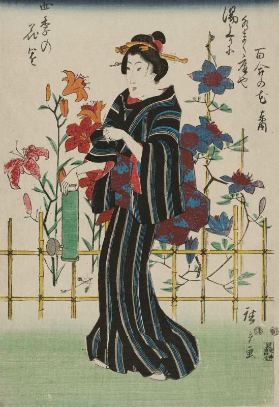 Utagawa Hiroshige. In the garden with lilies