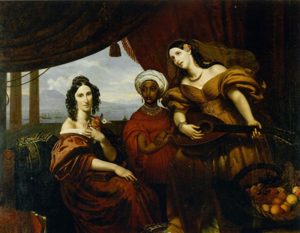 Orest Adamovich Kiprensky. Portrait of the Countess Pototskaya, and her Sister Shuvalova with Ethiopian Girl