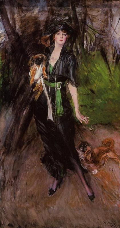 Giovanni Boldini. Portrait of Lina Bilitis with two Pekingese