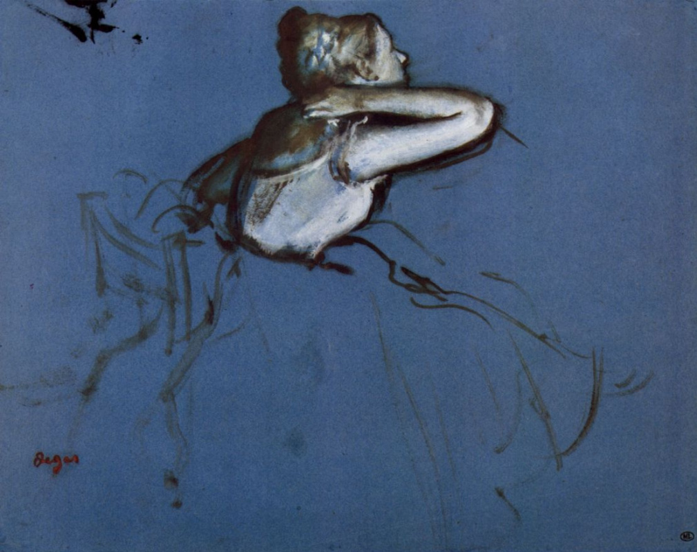 Edgar Degas. Sitting dancer in profile with hand on neck