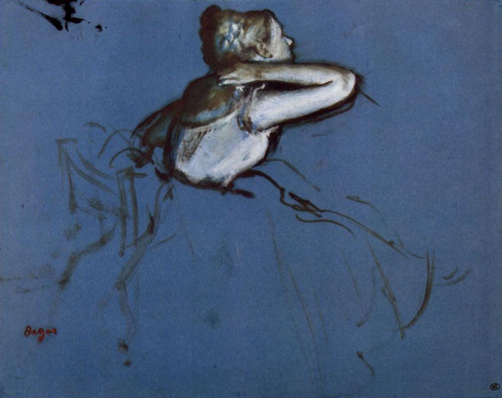 Эдгар Дега. Сидящая балерина в профиль, с рукой за шеей