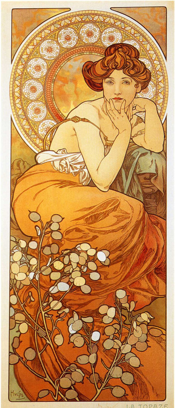 Alfons Mucha. Topaz. A series of gems