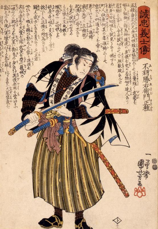 Utagawa Kuniyoshi. 47 loyal samurai. Fuwa Kazuemon, Masatane, inspecting the blade of his sword