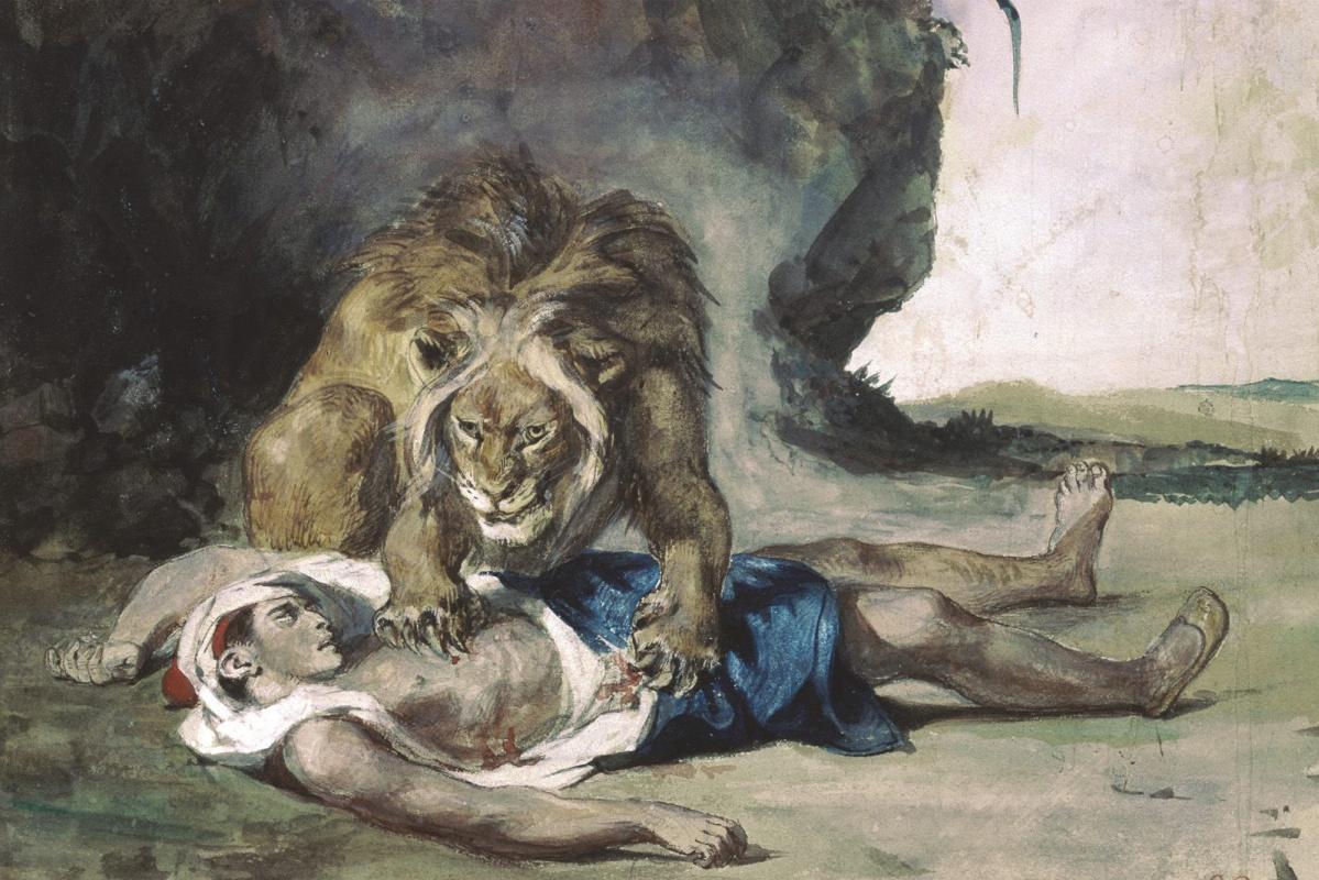 Eugene Delacroix. A lion, rending the corpse