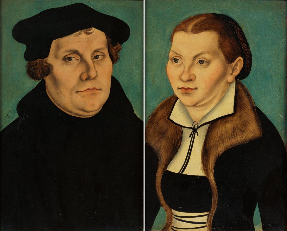 Лукас Кранах Старший. Диптих. Портрет Мартина Лютера и его супруги Катарины Бора
