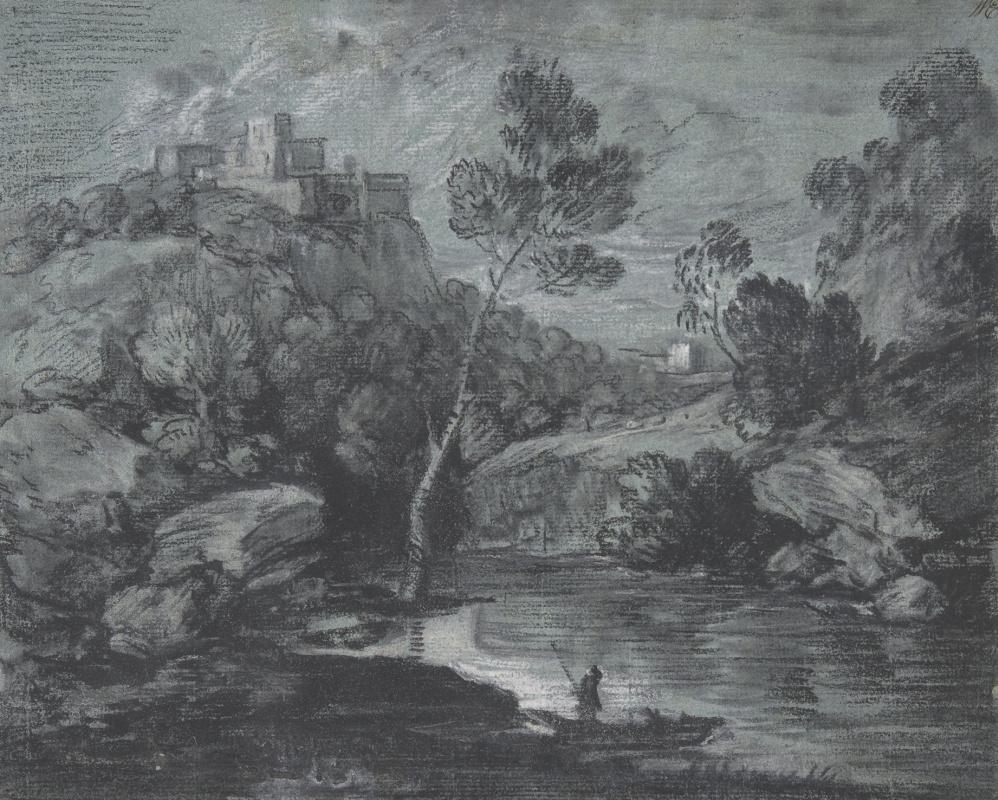 Томас Гейнсборо. Горный пейзаж с лодкой и замком
