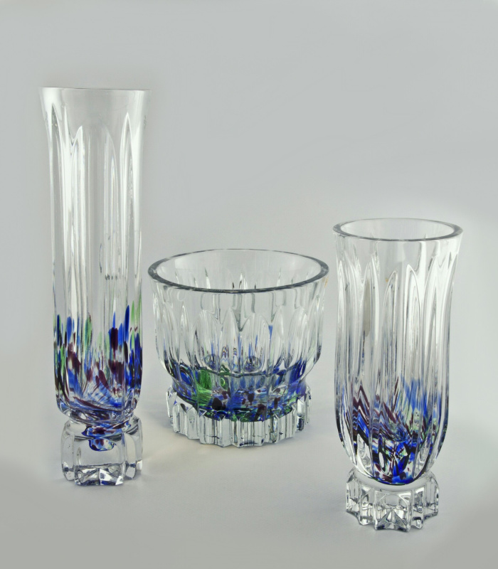 Набор ваз цветного хрусталя.