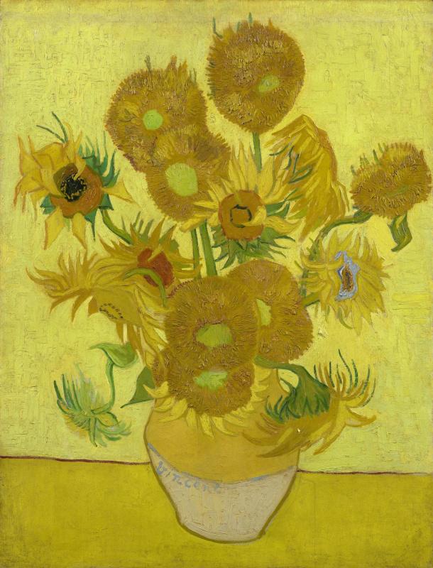 Sunflowers in yellow vase