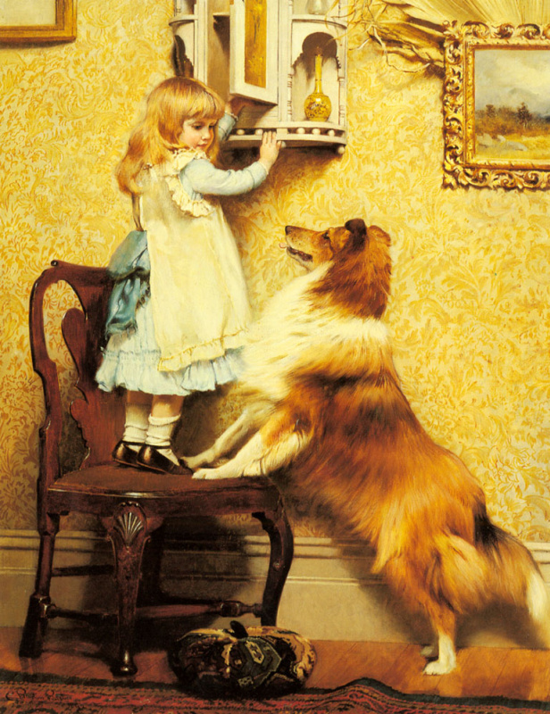 Charles Burton Barber. Little girl and her sheltie