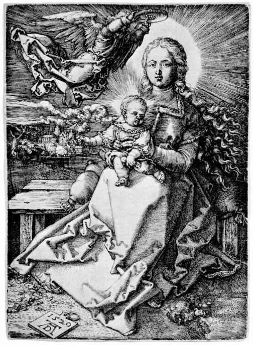 Альбрехт Дюрер. Сидящая Мадонна, коронуемая ангелом