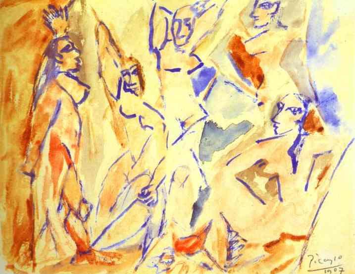 Пабло Пикассо. Авиньонские девицы (эскиз)