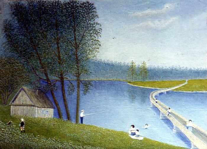 Alexander Georgievich Nazarov. By the river. Village Reshetikha