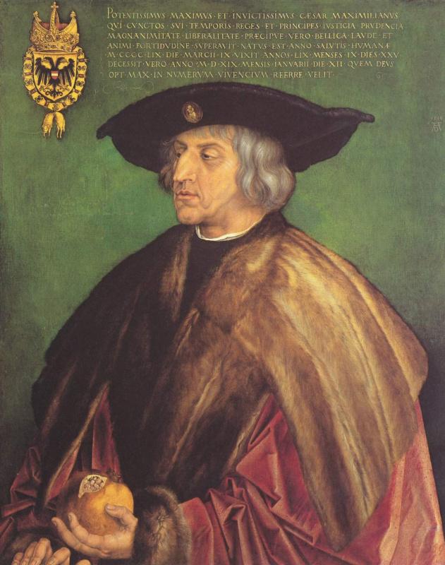 Альбрехт Дюрер. Портрет императора Максимиллиана I на зеленом фоне