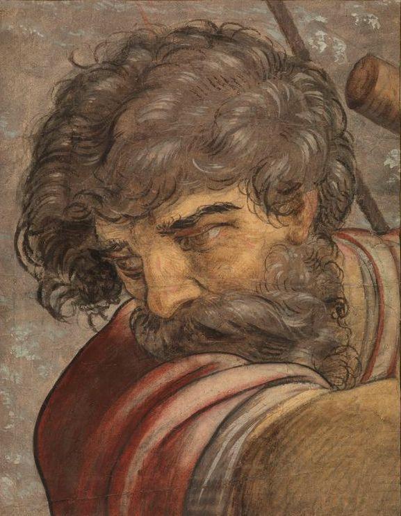 Питер Кук ван Альст. Голова мужчины. Фрагмент картона «Союз Помпея и Корнелии»