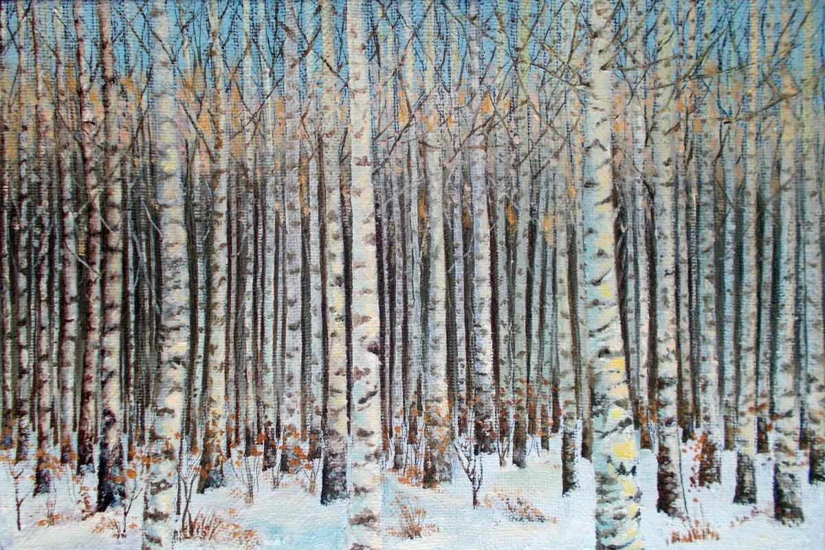 Vladimir Vasilyevich Abaimov. Birch Grove in Winter