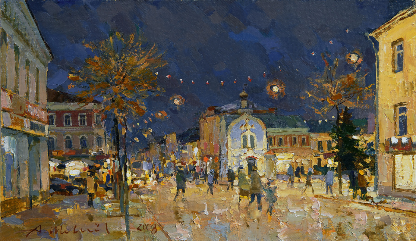 Alexander Victorovich Shevelyov. Night on the Standing. Oil on canvas 26 x 43.5 cm. 2008