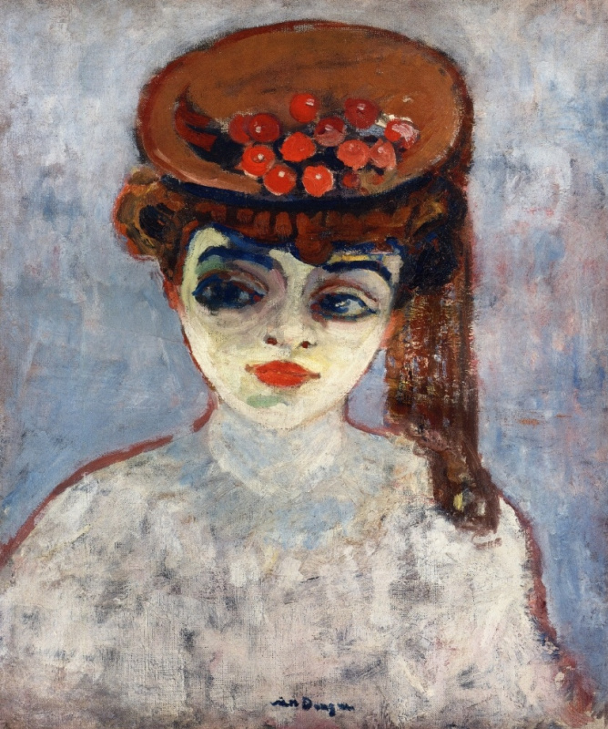 Kees Van Dongen. Woman with cherries on her hat