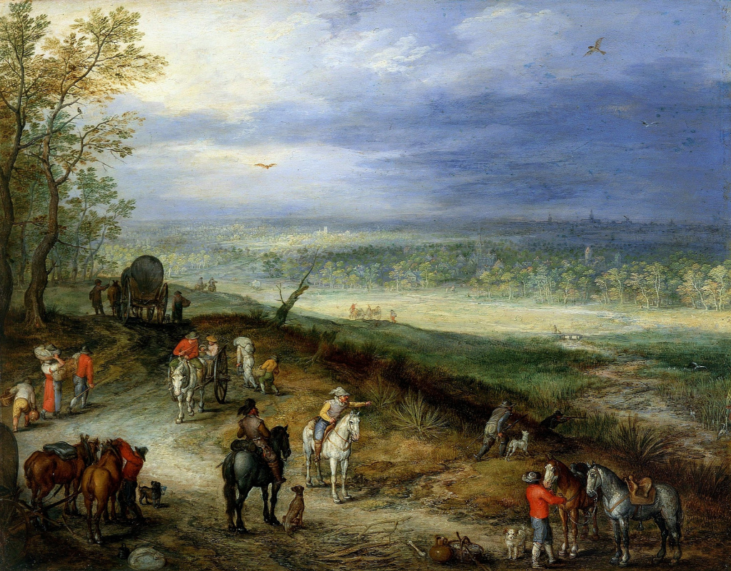 Ян Брейгель Старший. Обширный пейзаж с путешественниками на сельской дороге. 1608