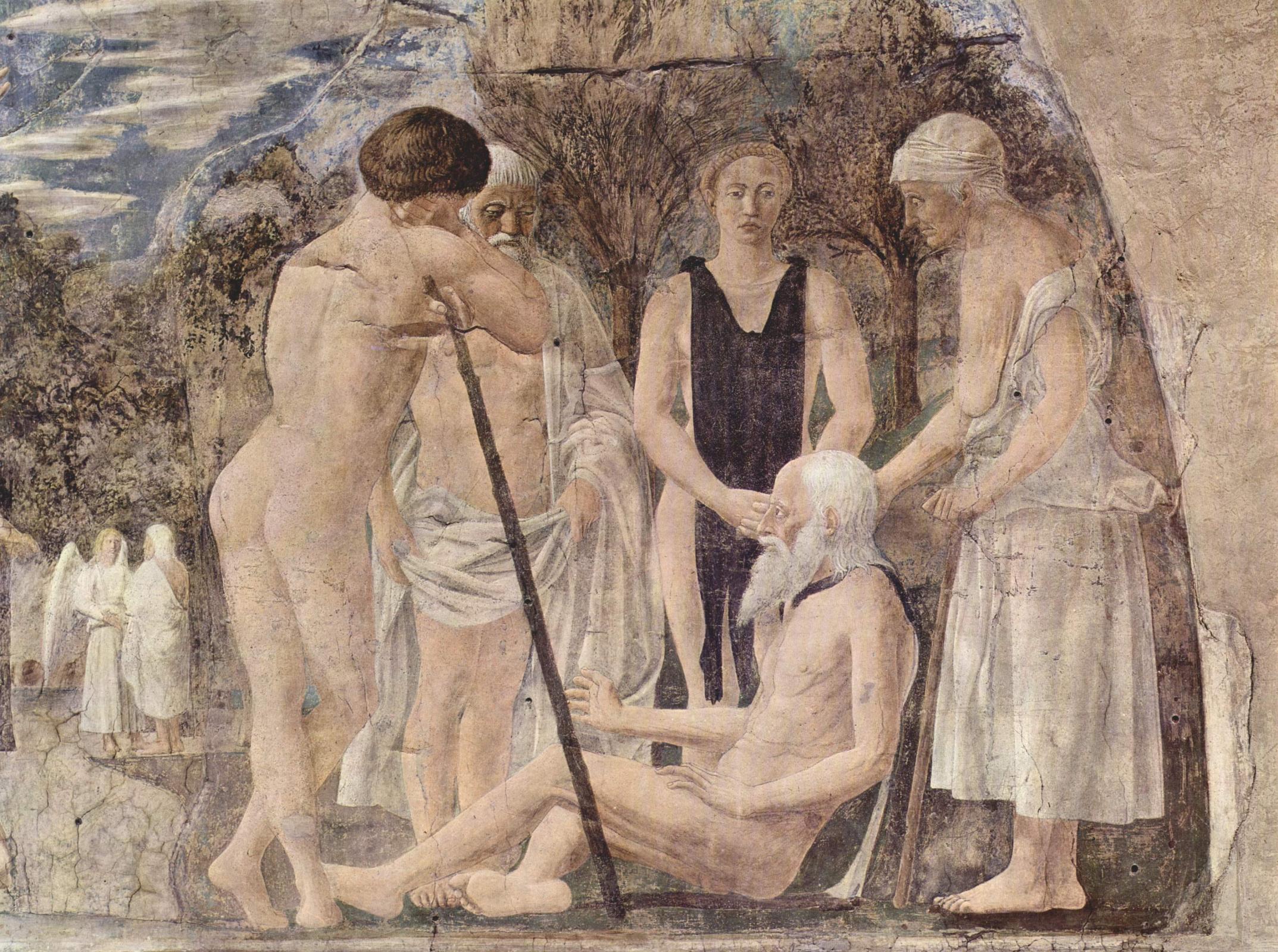 Пьеро делла Франческа. Смерть Адама. Фрагмент фрески в Базилике Святого Франциска в Ареццо