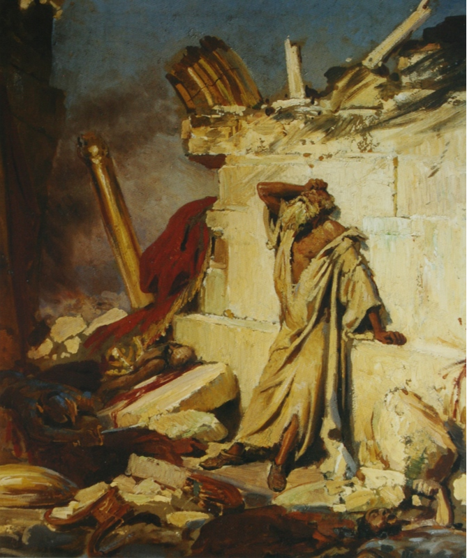 Ilya Efimovich Repin. The cry of the prophet Jeremiah on the ruins of Jerusalem. State Tretyakov Gallery.