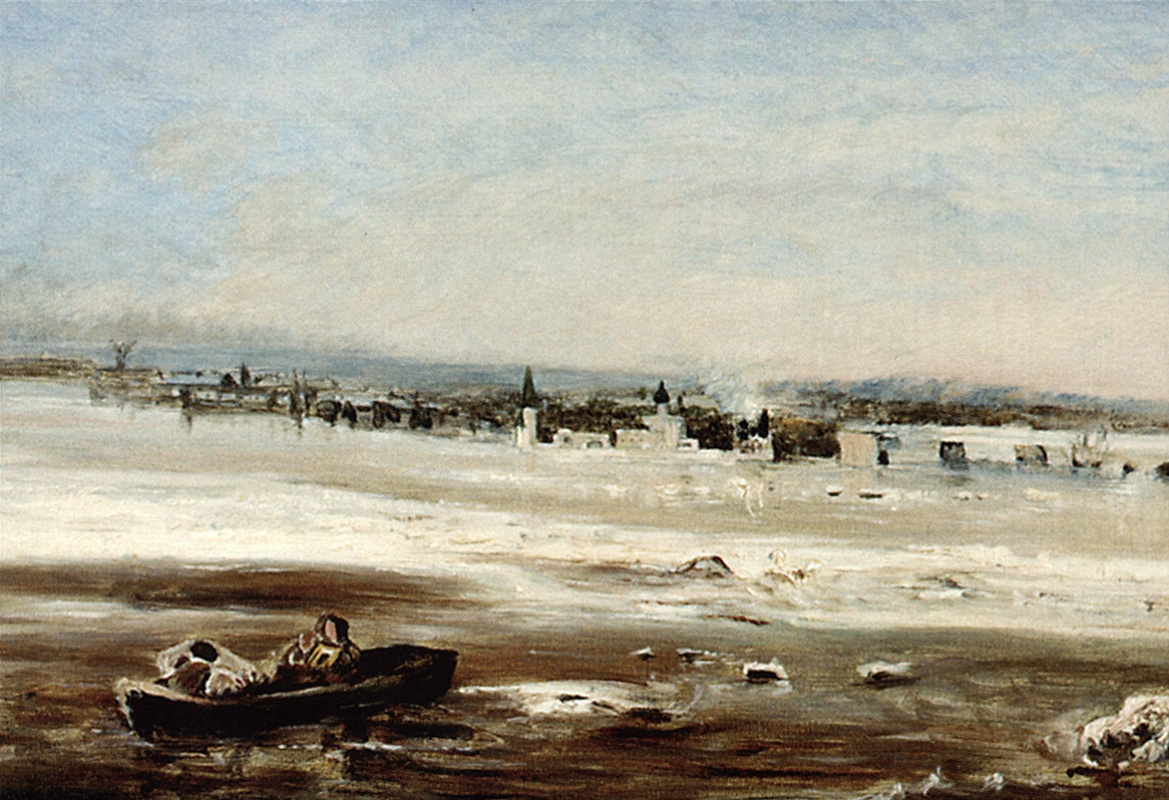 "Alexey The Kondratyevich Savrasov. Ice drift on the Volga. A sketch for the painting ""Spill the Volga near Yaroslavl"""
