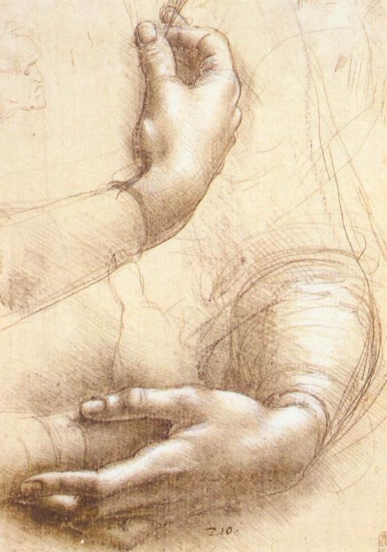 Leonardo da Vinci. Sketch of hands