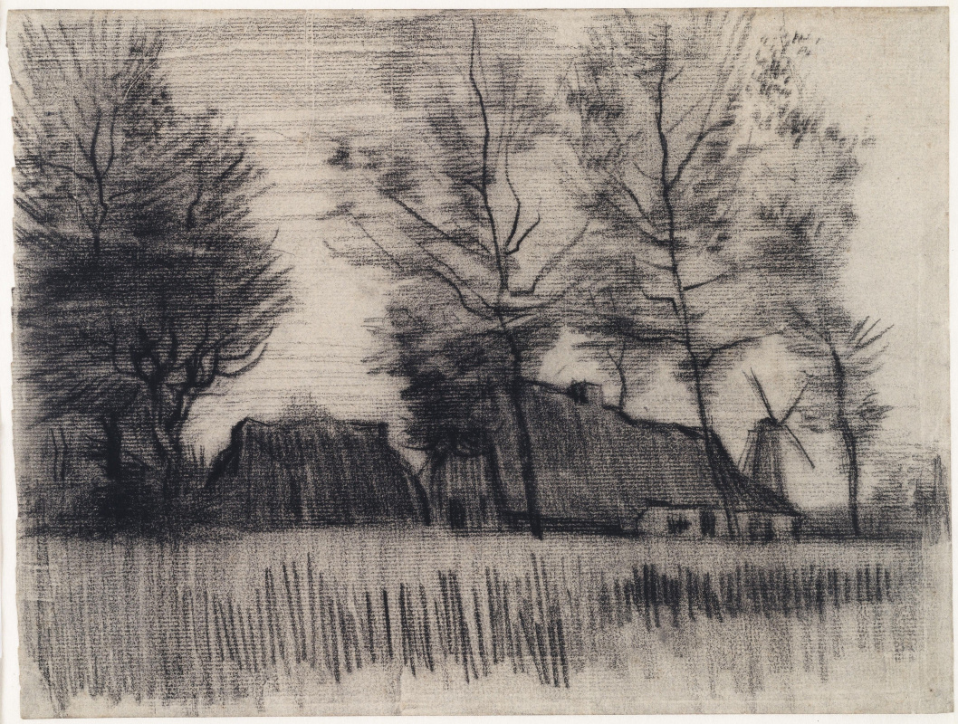 Vincent van Gogh. Landscape with houses and a windmill