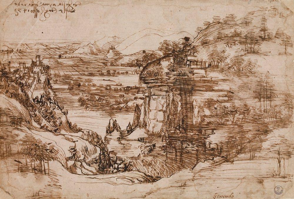 Леонардо да Винчи. Набросок тосканского ландшафта
