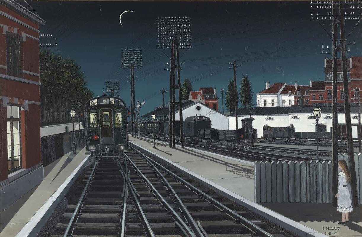 Paul Delvaux Belgium 1897-1994. Evening train. 1957