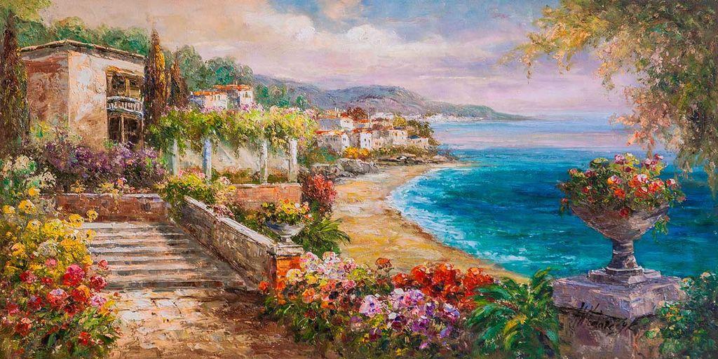 "Andrzej Vlodarczyk. ""Mediterranean landscape with oil"" Midday solitude. Serenity """""