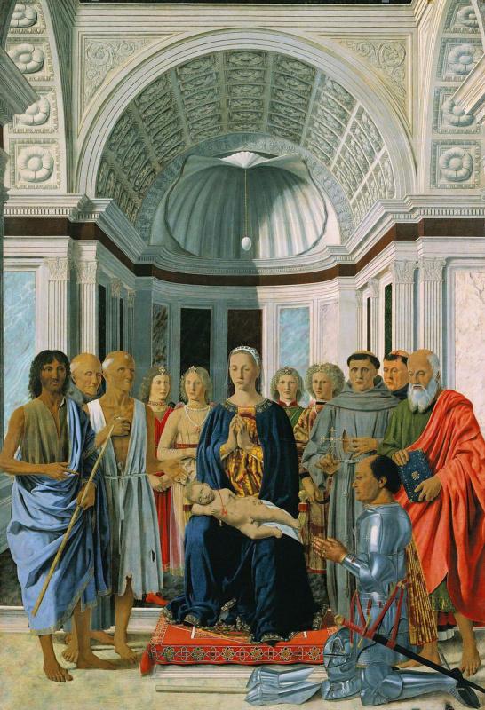 Piero della Francesca. Madonna enthroned with saints and a donor, federigo da Montefeltro (Montefeltro Altarpiece)