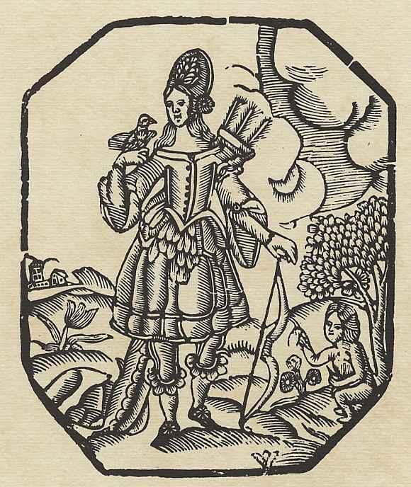 """Ксилограф из печатни Эстивиль в Барселоне. Иллюстрация к """"Четырём аллегорическим фигурам"""", : Любовь"""