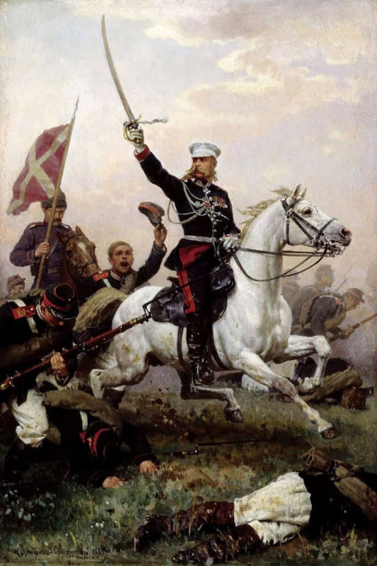Nikolai Dmitrievich Dmitriev-Orenburg. General N. D. Skobelev on a horse