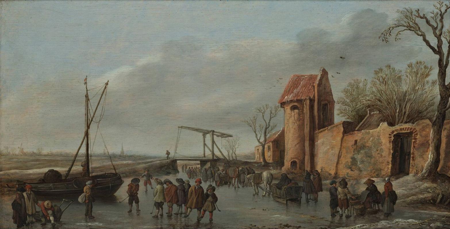 Jan van Goyen. Scene on the ice