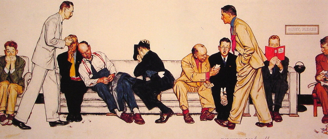 Norman Rockwell. The waiting room at the hospital